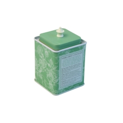 High quality square tin tea can with lid