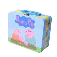 Custom kids portable tinplate metal boxes highly decorated popular gifts tin lunch box with handle