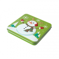 Custom Christmas candy square tin box small