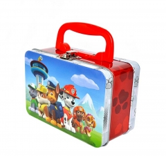 wholesale metal Tin lunch box with collapsible plastic handle and metal latch closure