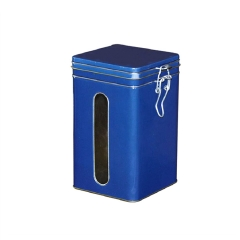 Customized square tea coffee container with airtight lid metal tin with PVC window packaging box