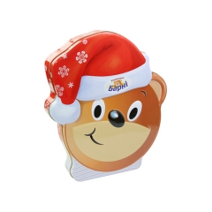Christmas gift bear shape chocolate packaging metal tin box for sale