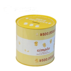 metal tin round saving box piggy bank for Children